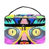 Bolsa de maquillaje de viaje, bolsa de maquillaje, organizador para mujeres y niñas, gato pop Art Portrait