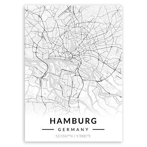 Murrano Poster Wandbilder Deko Wohnzimmer - Weltstädte - zur Selbstmontage mithilfe eines Magnets montiert - aus Metall - Schwarz-weiß - Hamburg - 45 x 32 cm