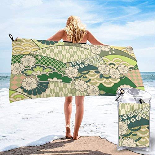 Toalla de baño con diseño japonés, Toalla de Gimnasio, Toalla de Playa, súper Absorbente, Microfibra de Secado rápido Suave, Liviana, Blanca, 27.5 'x55