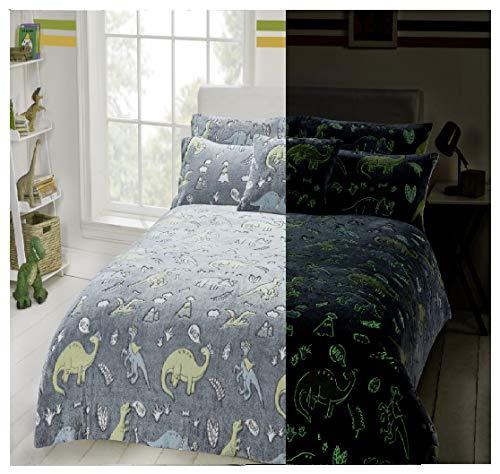 Goldstar Glow in The Dark Teddy Fleece Dino Dinosaur Duvet Cover Kids Bedding Set Cosy Warm with Pillow Case (Single)