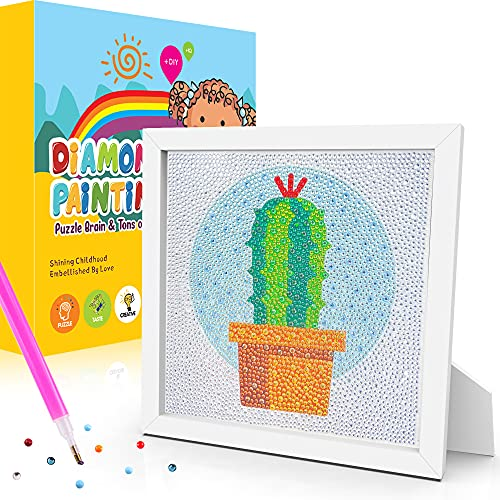 JoltMemori 5D Daimond Painting for Kids with Wooden Frame- Gem Diamond DIY Arts and Crafts for Kids Ages 6-12 and Adult Beginners (Cactus)