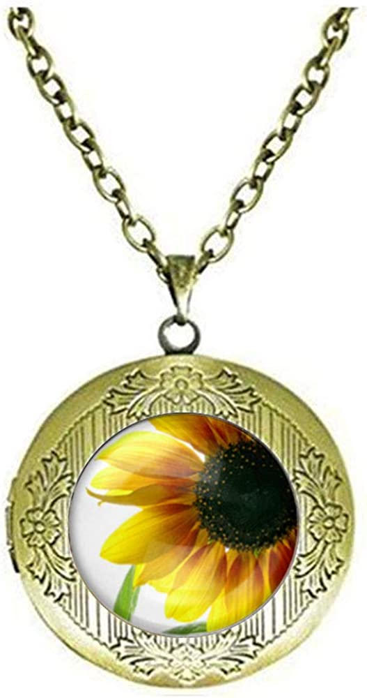 Sunflower Floral Art Photo ! Super beauty product restock quality top! Challenge the lowest price of Japan Jew Glass Locket Necklace