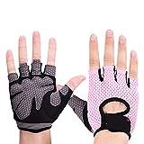 Gimnasio De Pesas Ciclismo Yoga De Los Hombres/Mujeres Guantes De La Aptitud Culturismo Entrenamiento Transpirable Antideslizante Guantes Medio Dedo Protect Hands (Color : Pink, Size : XL)