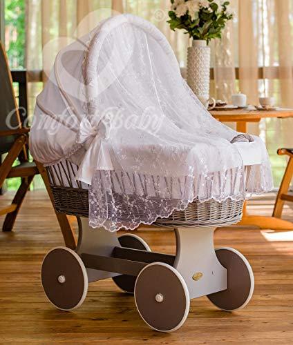 ComfortBaby ® Snugly Baby Stubenwagen mit Moskitonetz - komplette 'all inclusive' Ausstattung - Zertifiziert & Sicher (Grau-Weiß)