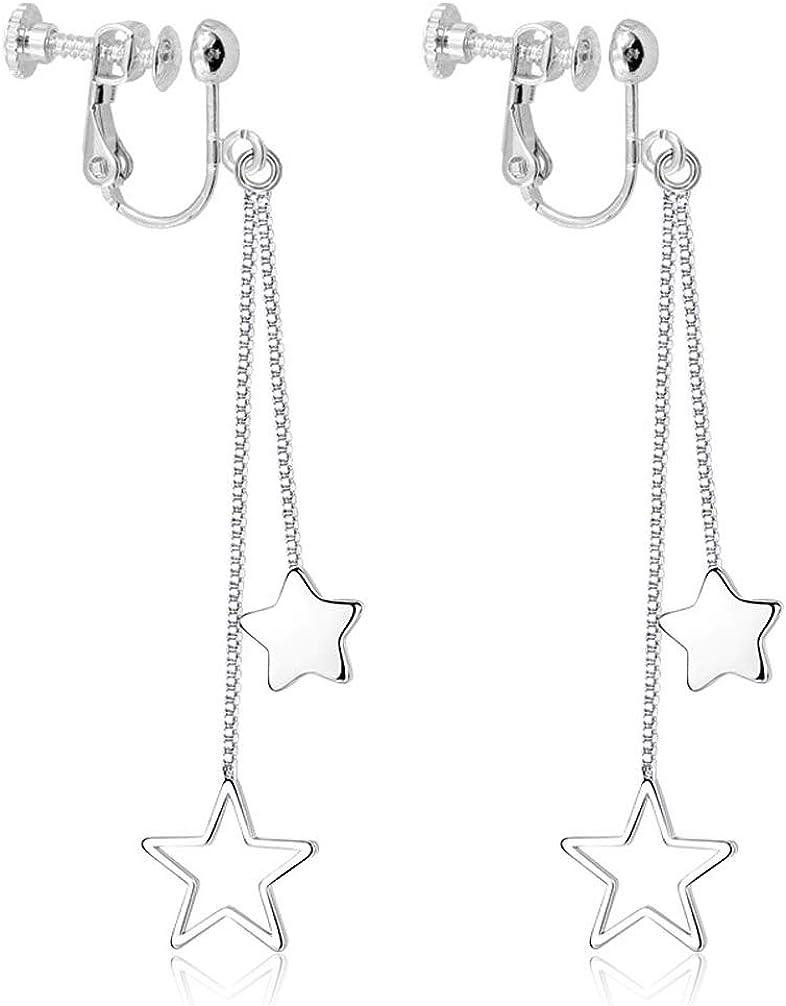 Double Stars Tassel Dangle Clip on Earrings non Pierced Women Girl Rhodium Plated Dangling Lightweight