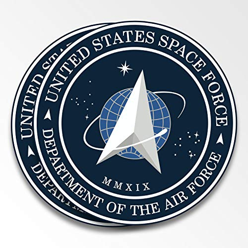 """Ichthusgraphics.com Space Force Decal Stickers 2 pack 4.5"""" Vinyl – For Bumpers Cars Trucks Laptops Window Skateboard – Weird Funny Official Logo of USSF – Gift for NASA SpaceX Trump Trek USA Flag Fans"""