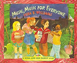 What a sweet story this one is! A little girl tells about her grandmother who is sick and she is very worried about her. The little girl is reminded that her grandmother loves music so she gathers together some friends that all play musical instruments and they lay at a party. Check this blog post for a STEM Challenge!