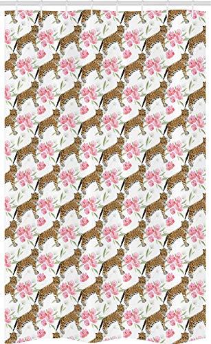 ABAKUHAUS Jaguar Douchegordijn, Blossoming Corsage Botany, voor Douchecabine Stoffen Badkamer Decoratie Set met Ophangringen, 120 x 180 cm, Pale Brown Pale Pink