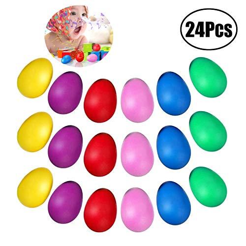 JZZJ 24 Stücke Egg Shaker Set Maracas Eier Musical Eier Ei Shakers Kunststoff Eier für Kinder Party Supplies Musical Spielzeug, 6 Farben