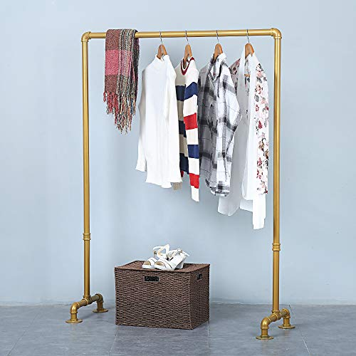 Industrial Pipe Retail Clothing Rack 59inVintage Standing Rolling Clothes Rack PortableGarment Rack Display RackCommercial Heavy Duty Clothes Racks for Hanging ClothesGolden