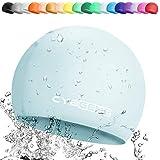 CybGene Silikon Badekappe für Damen und Herren Schwimmkappe Bademütze, Hochwertige Weich Silikon Unisex wasserdichte rutschfeste-Baby blau