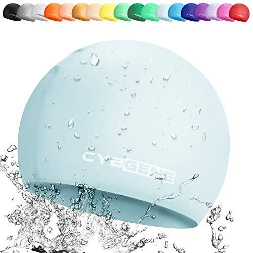 CybGene Silikon Badekappe für Kinder, Kind Schwimmkappe Bademütze für Kinder Schwimmunterricht-Baby blau