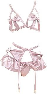 YOMORIO Lolita Cute Bows Bra and Panty Set Kawaii Anime Cosplay Underwear Strappy Bikini Lingerie Pink