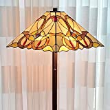 Tiffany Style Floor Lamp Mission Standing Vintage Antique 63' Tall Stained Glass Brown Red Tan Traditional Light Decor Bedroom Living Room Reading Gift AM343FL17 Amora Lighting, Yellow