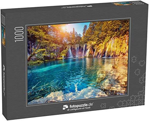 fotopuzzle.de Puzzle 1000 Teile Majestätische Aussicht auf türkisfarbenes Wasser und Sonnenstrahlen im Nationalpark Plitvicer Seen Kroatien Europa