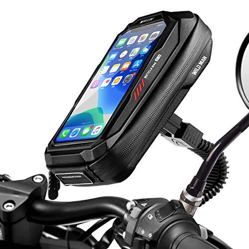 Faneam Impermeable Soporte Móvil para Motocicle Scooter 360° Rotación Soporte Telefono Motocicleta Retrovisor Universal Soporte para Teléfonos Moto con Pantalla Táctil Sensible hasta 6.5'(Negro)