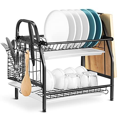 Alvorog 2-stufiges Abtropfgestell mit Besteckkorb und Abtropfschale rostfrei Becherhalter für küche, Rostfreies Geschirrabtropfgestell für Küche Arbeitsplatte (Schwarz)