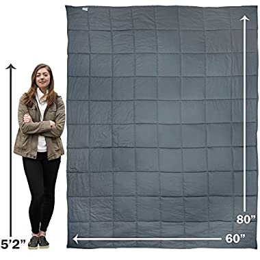 Premium Oversized 15 lb Weighted Anxiety Blanket for Adults weighing 100-150 lbs, Helps with Anxiety, Autism, OCD, ADHD, and Sensory Disorders (60 x80 ), Sleep better with AnxietyBlankets