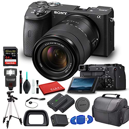 Sony Alpha a6600 Mirrorless Digital Camera with 18-135mm Lens (ILCE6600M/B) with Flash, Extra Battery, Tripod, 64GB Memory Card, Padded Bag, and More - Advanced Bundle
