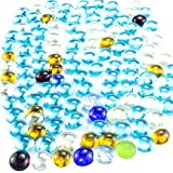 MotBach 125 Pcs Colorful Flat Glass Marbles, Game Replacement Stones, Clear Gemstones, Vase Filler, Pebbles, Beads for Weddings Birthday Party Table Decoration Supplies, DIY Projects(Approx 300g/Bag)