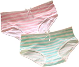 Moe Lolita Girl Sexy Japanese Anime Style Intimate Panties Briefs with Bow Cosplay Underwear Underpants - Set of 2 (Green and Pink White Stripe)