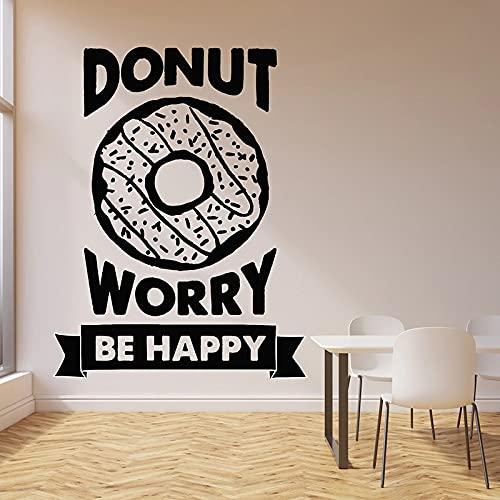 HFDHFH Donut Wall Decal es Happy Dessert Candy Cafe Tienda de postres Pegatina Brillante Papel Tapiz 110X142CM