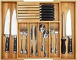 Cassettiera in bambù da cucina, porta utensili espandibile e vassoio portaposate con divisore, da 33 a 54,9 cm