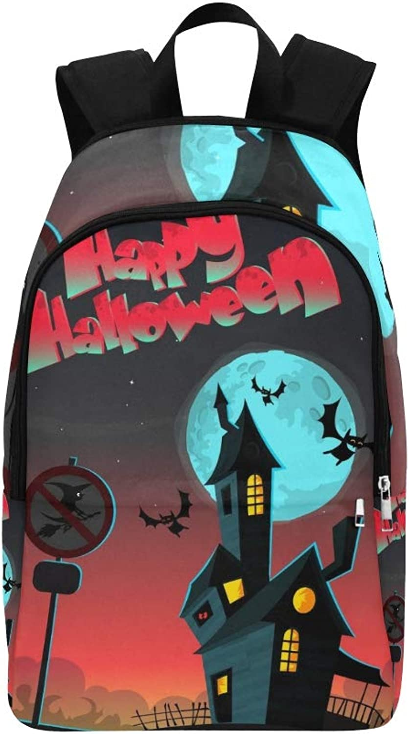 Cartoon Haunted House Halloween Greeting Card Casual Daypack Travel Bag College School Backpack for Mens and Women