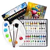 ATMOKO 29 Stück Acrylfarben Set, 24pcs Acrylfarben+3pcs Künstlerpinsel+1pcs Mischpalette+1pcs Leinwand, Perfekt für Leinwand, Holz, Stoff, Ungiftige Acrylfarben Set für Anfänger, Künstler