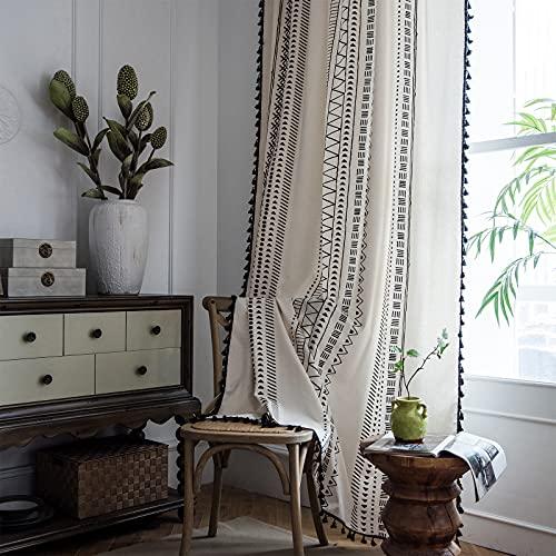 Boho Curtains 84 Inch Length - 2 Panels Bohemian Geometric Tassel Window Curtains Farmhouse Cotton Linen Drapes Semi Blackout Window Treatments with Rod Pocket for Living Room Bedroom Nursery