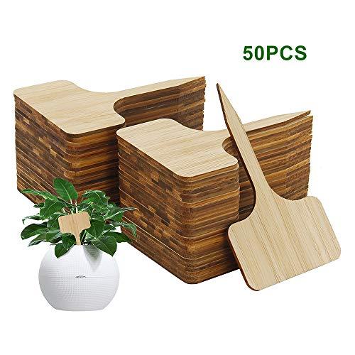 willkey 50 Stücke Pflanzschilder Bambus,T-Form Pflanzenstecker Beschriften Stecketiketten,für Baumschulen Pflanzenzucht Zierpflanzen Topfkräuter Blumen Gemüse