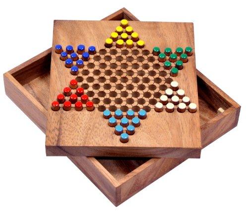Logoplay Holzspiele Halma Gr. S - Stern Halma - Chinese Checkers - Strategiespiel - Gesellschaftsspiel aus Holz