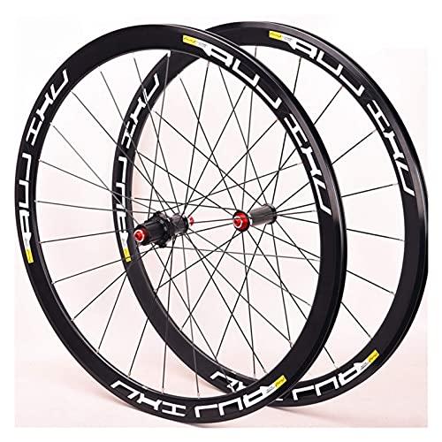 XCZZYC Juego de Ruedas de Bicicleta de Carretera 700C, 40 mm de Alto, 7 rodamientos, Ruedas de Bicicleta, Freno en V de liberación rápida, 8 9 10, buje de Fibra de Carbono de 11 velocidades, 1865 g