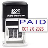 Cosco 2000 Plus Self-Inking Rubber Date Office Stamp with Paid Phrase Blue Ink & Date RED Ink (Micro-Dater 160), 12-Year Band