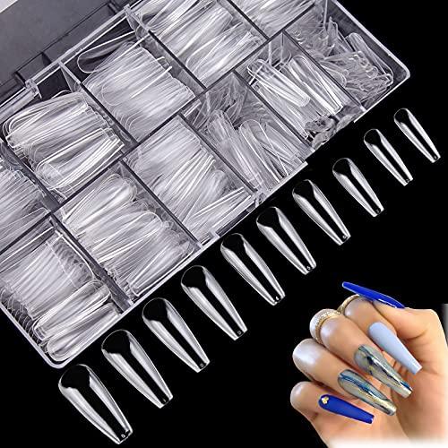 JJsctly 500 Stück Ballerina Nägel Tipps Clear Acryl Fake Nails, Natürliche Nagelspitzen, Falsche Nagel, Kunstnägel, Künstliche Lange Sargform Fingernägel Tips für Frauen Mädchen