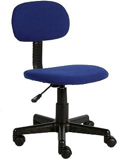BYGZZ Silla de Oficina Silla para computadora de Oficina Tarea ergonómica Giratoria para el hogar Sala de Estar cómoda Escritorio de Escritorio Textil Lino Tapizado, Altura Ajustable: 39~50 cm, Azul
