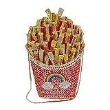 A/N Pochette da Sera French Fries Diamante di Cristallo del Sacchetto Cava Borsa del Diamante del Metallo Sacchetto del Pranzo Pochette (Color : Picture Color, Size : 21 x 15 x 9cm)
