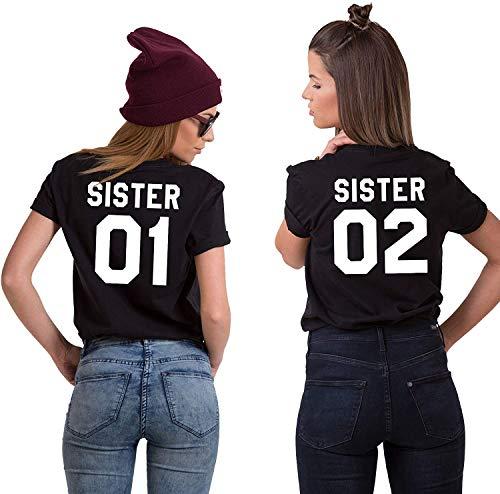 Best Friends BFF Beste Freunde T-Shirt für Zwei Mädchen Damen Tshirt - 1x Sister 01 Schwarz XS