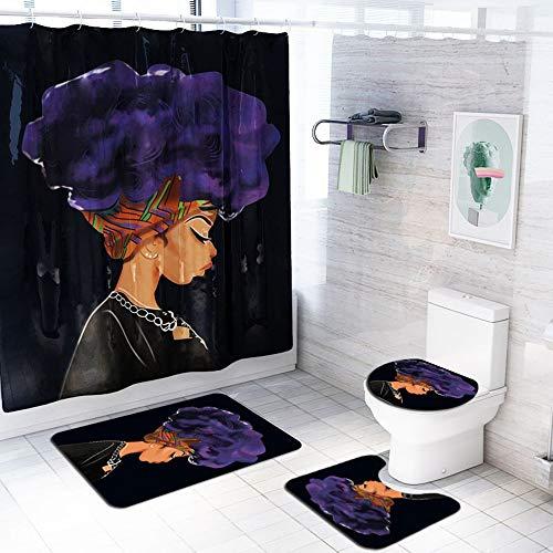 ETH Zwarte Achtergrond Explosie Hoofd Vrouw Patroon Douche Gordijn Vloer Mat Badkamer Toiletbril Vierdelige Tapijt Waterabsorptie Niet vervagen Veelzijdige Comfortabele Badkamer Mat Kan Machine Washe