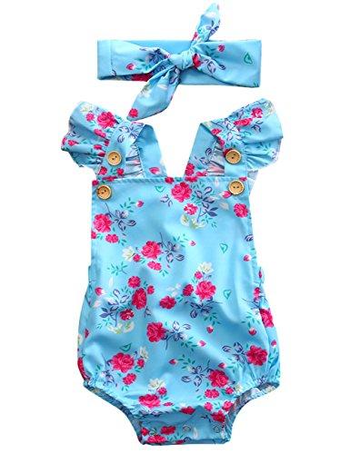 Canis Baby Girls Full Flower Print Buttons Ruffles Romper Bodysuit with Headband