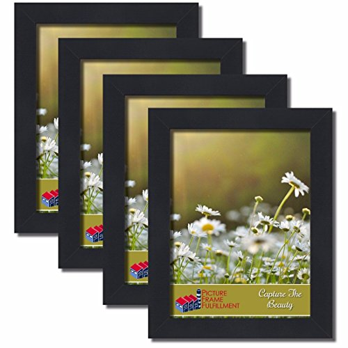 PictureFrameFactoryOutlet 12 by 16-inch Picture Frame 4-Piece Set, Smooth Finish, 1.25 Inch Wide, Black