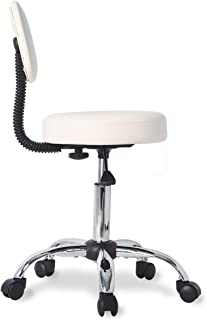 Stool Chair Rolling Adjustable Swivel Office Desk Chair with Back and Wheels for Home,Office,Massage,Spa,Esthetician in Beige