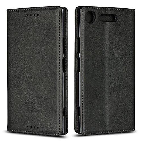 Copmob Sony Xperia XZ1 Hülle,Premium Flip Brieftasche Ledertasche Handyhülle,[3 Kartensteckplatz][Standfunktion][Magnetverschluss],Schutzhülle für Sony Xperia XZ1 - Schwarz