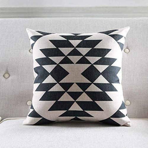 JOGSSELL Cómodo y moderno cojín de algodón con diseño de geometría, color blanco y negro, sin núcleo de almohada, 53 x 53 cm