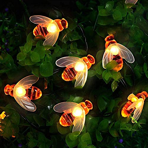 Solar Powered String Lights - 30 Cute Honeybee LED Lights, 25FT 8 Modes Starry Lights, Waterproof IP65 Fairy Decorative Lights for Outdoor Wedding Homes Gardens Patio Party,Warm White