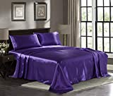 Satin Sheets King [4-Piece, Purple] Hotel Luxury Silky Bed Sheets - Extra Soft 1800 Microfiber Sheet Set, Wrinkle, Fade, Stain Resistant - Deep Pocket Fitted Sheet, Flat Sheet, Pillow Cases