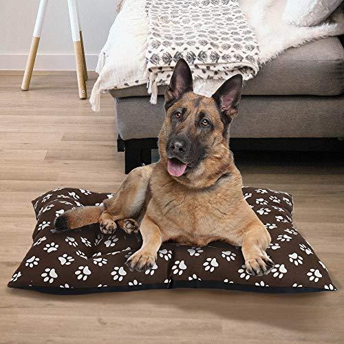 BCASE Hundebett, Haustierbett mit weicher und bequemer Matratze, Material 100% Polyester, 88 x 112 cm, mit Footprint-Design, in brauner Farbe.