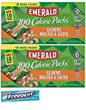 Emerald Cashews Roasted and Salted 100 Calorie Packs. Healthy, Low Carb Protein Snacks. Includes 2 Boxes Plus a 5 Pack Gum Sample.