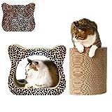 GJNVBDZSF Rascador de Gato, Leopardo Corrugado Ambiental 2 en 1 Tablero de rasguño de Gato Cama de Ocio Protección de Muebles de Cueva
