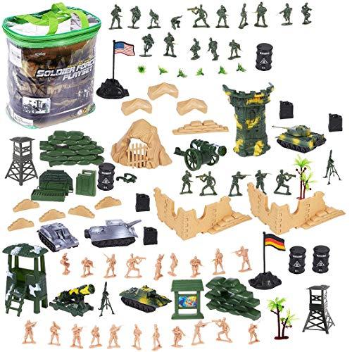 deAO Armee-Verteidigungseinheitsspielset- Soldatenspielfiguren, Fahrzeuge und weiteres Zubehör( 100-teiliges Set)